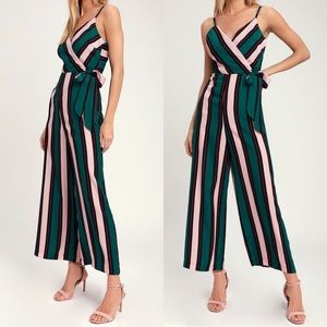 Lexis Pink Green Multi Striped Tie-Front Jumpsuit
